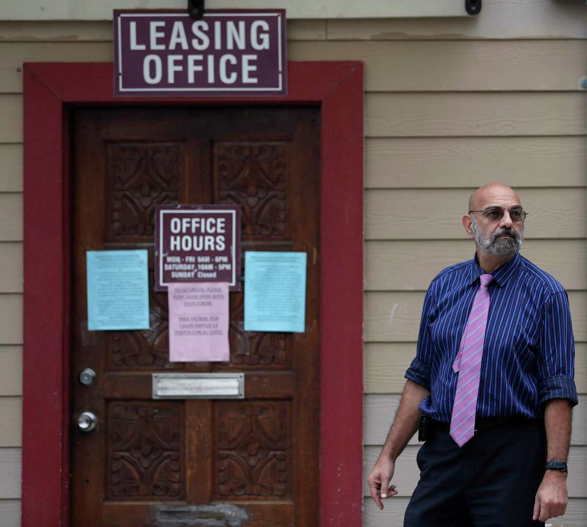 Landlord Jack Yetiv stands outside of the leasing office at the Westview Forest apartment complex.