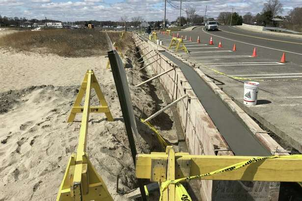 A retaining wall has been extended on the bridge side of the beach in Milford, while the annual regrading of the sand on the beach has taken place.
