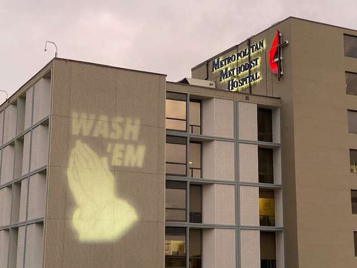 Methodist Hospital   Metropolitan displayed a hand-washing reminder on Thursday and plans to keep the message up every night during the COVID-19 pandemic. San Antonio hospitals are preparing for the worst, but state officials are still concerned about whether there will be enough nurses to care for a surge of patients.