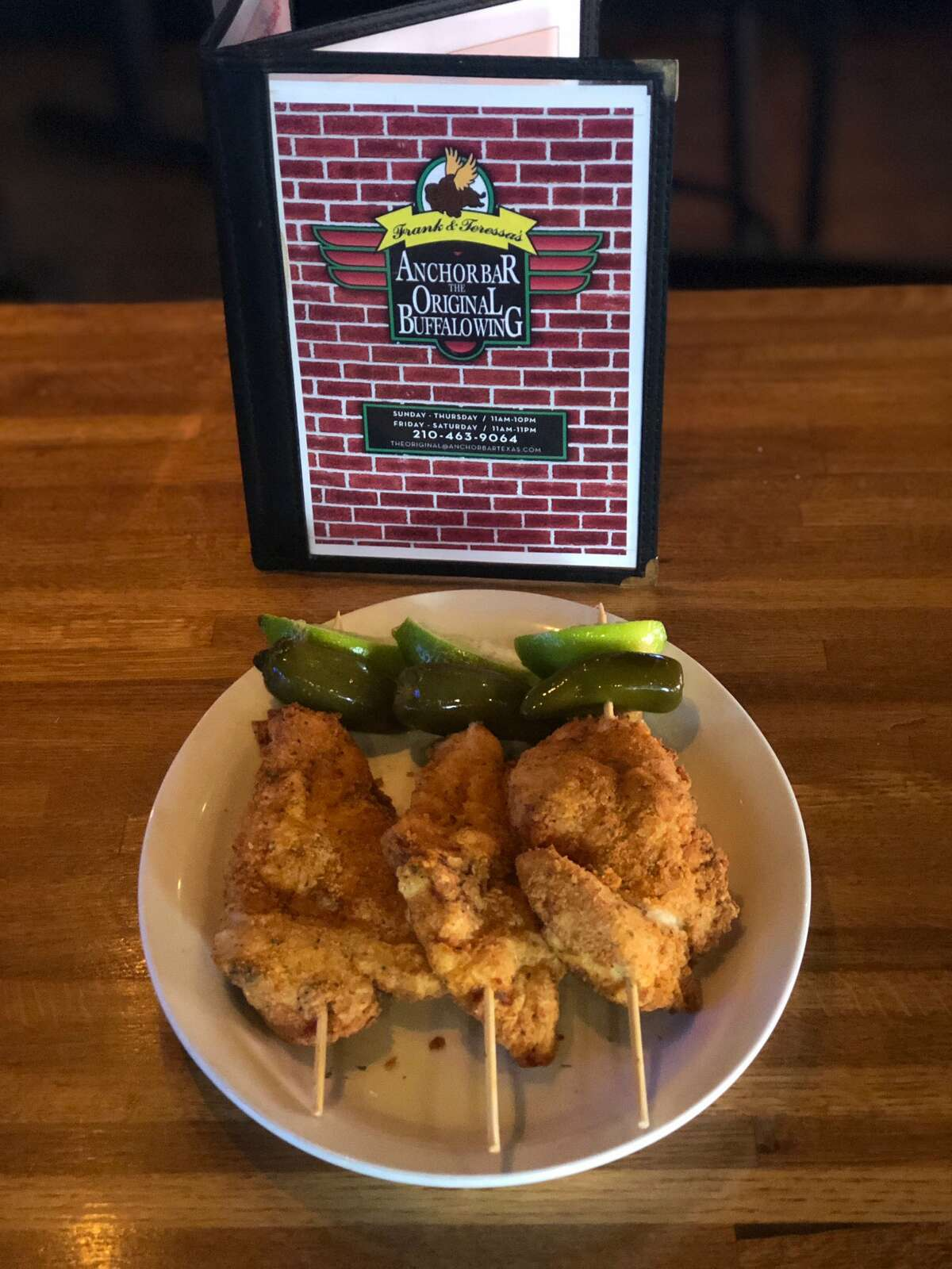 At The Anchor Bar, chickens on sticks are part the regular menu. The bar sells a pack of three for $6.99. Orders can be placed by calling either the San Antonio or Schertz location at 210-492-9464 or 210-463-9064.