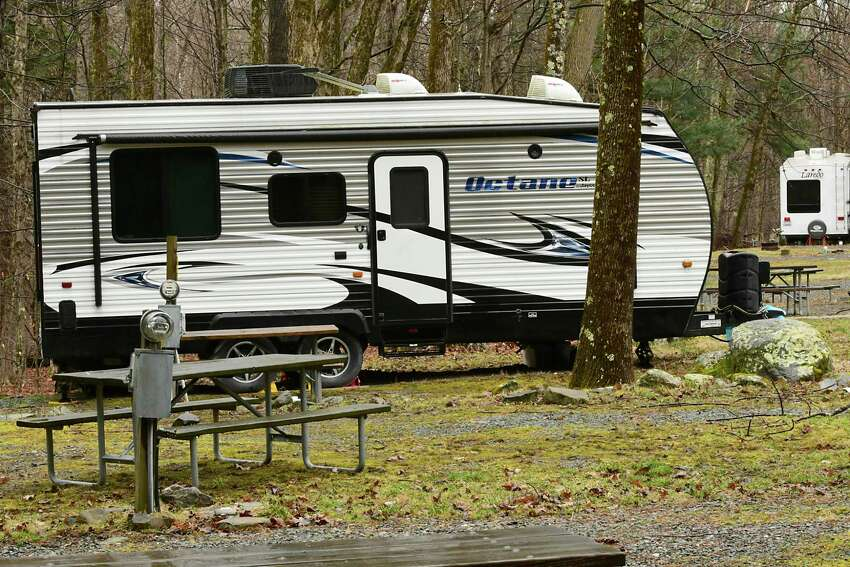 An RV is seen parked on a campsite at Alps Family Campground on Monday, March 30, 2020 in Averill Park, N.Y. (Lori Van Buren/Times Union)