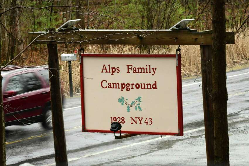 Sign at entrance to Alps Family Campground on Monday, March 30, 2020 in Averill Park, N.Y. (Lori Van Buren/Times Union)
