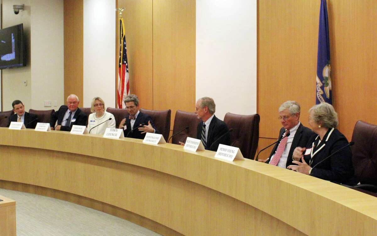 Seven New Canaan Town Council candidates debated at a previous forum in New Canaan, Connecticut. The town recently looked at how town real estate taxes were paid during previous downturns. This examination was as a result of the coronavirus.