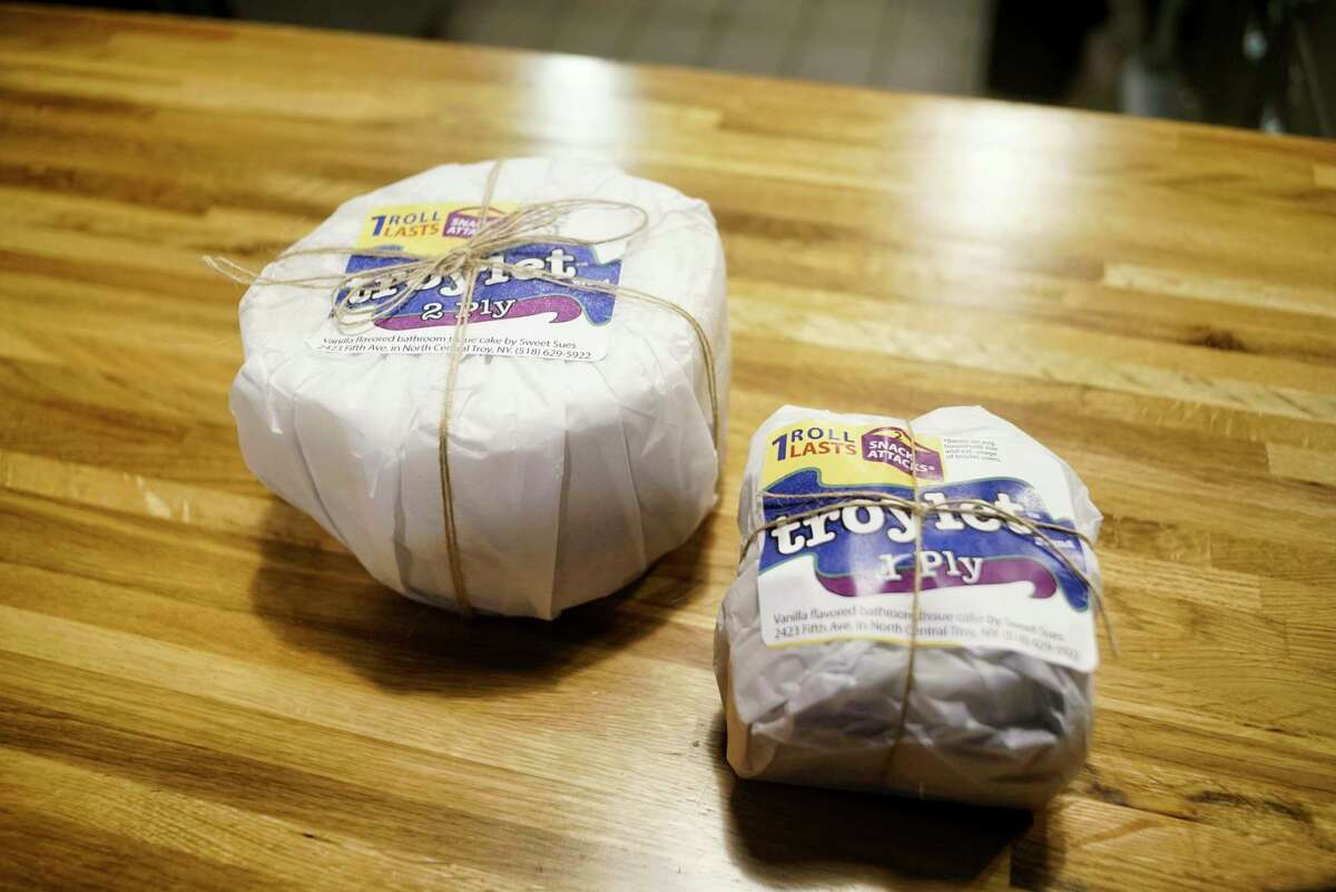 A view of the six inch and four inch pound cakes wrapped up at Sweet Sue's Copper Pot on Monday, March 30, 2020, in Troy, N.Y. Owner, Susan Dunckel, began making and selling the cakes decorated to look like a roll of toilet paper. (Paul Buckowski/Times Union)