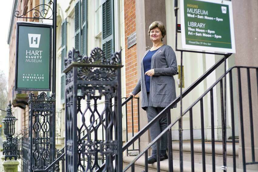 Karin Krasevac-Lenz, executive director of Hart Cluett Museum, stands outside the museum on Monday, March 30, 2020, in Troy, N.Y. (Paul Buckowski/Times Union)