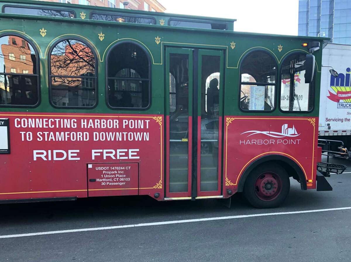 The Harbor Point-Downtown trolley in Stamford.