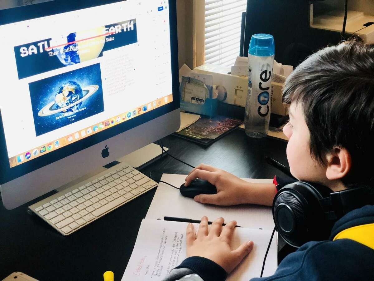 New Canaan Public School students are elearning from home via the internet and distance learning for week two, March 2020.