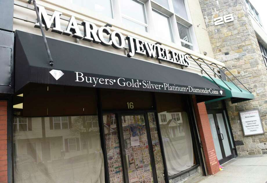 Marco Jewelers is closed in Stamford, Conn. Monday, March 30, 2020. The store's owner Mark Vuono was killed during an armed robbery at his shop on Saturday. Photo: Tyler Sizemore / Hearst Connecticut Media / Greenwich Time