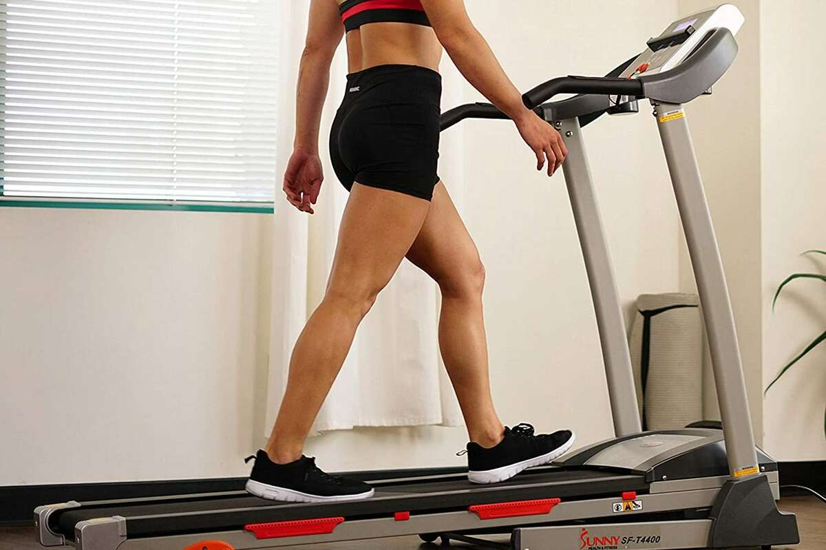 Sunny Health & Fitness Folding Treadmill with Device Holder, Shock Absorption and Incline, $377.37