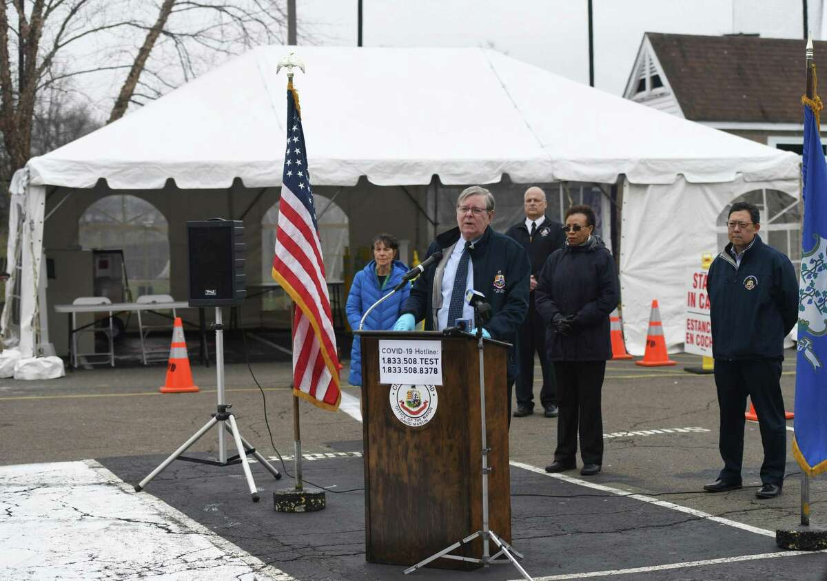 Mayor David Martin speaks about the coronavirus situation at the new testing center at Westhill High School in Stamford on Monday.