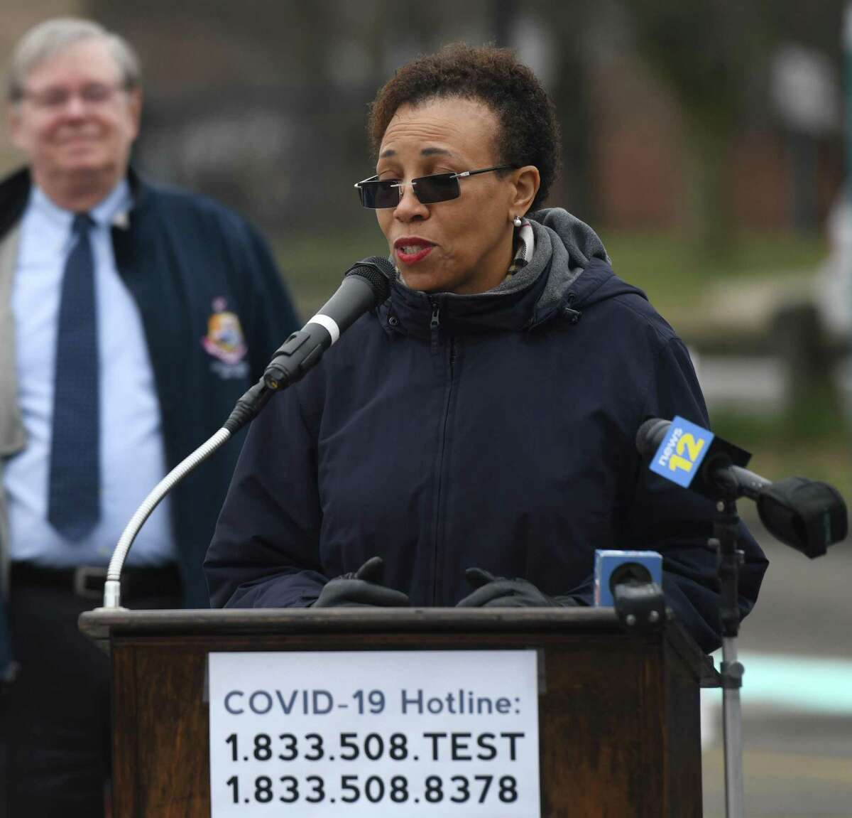City of Stamford irector of Health Dr. Jennifer Calder speaks about the coronavirus situation at Westhill High School in Stamford, Conn. Monday, March 30, 2020.