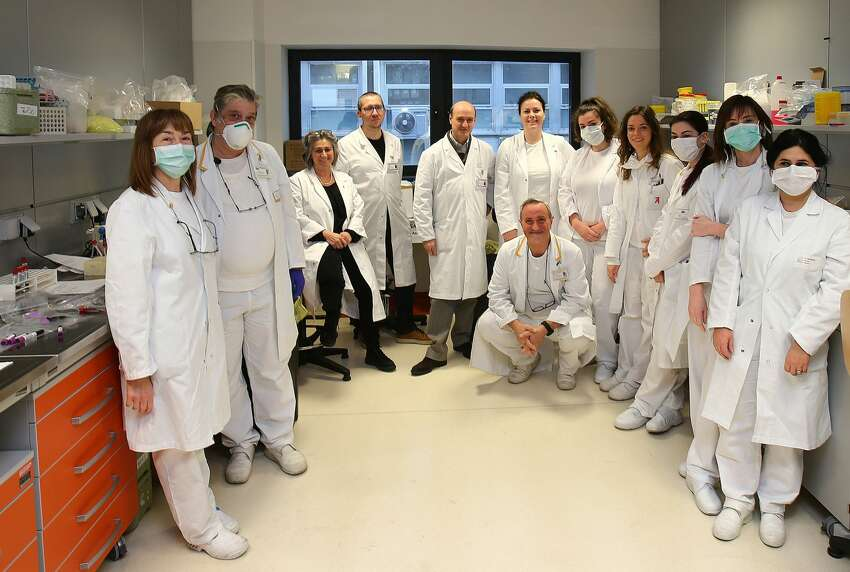 Prof. Martin Giancarlo Icardi, Director of the Hygiene Laboratory, with the COVID-19 working group at the San Martino Hospital in Genoa, Italy.