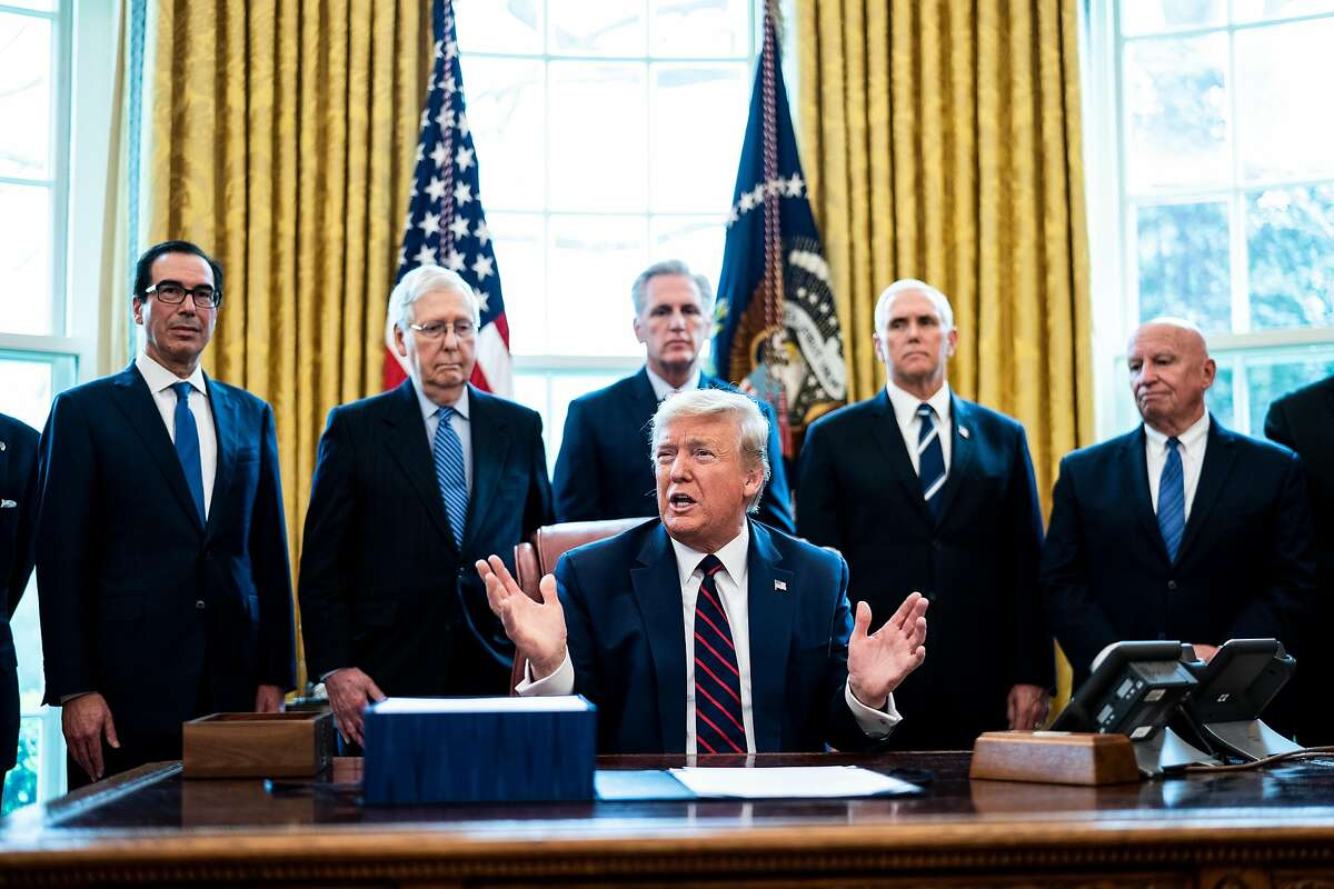 WASHINGTON, DC - MARCH 27: U.S. President Donald Trump speaks during a bill signing ceremony for H.R. 748, the CARES Act in the Oval Office of the White House on March 27, 2020 in Washington, DC. Earlier on Friday, the U.S. House of Representatives approved the $2 trillion stimulus bill that lawmakers hope will battle the the economic effects of the COVID-19 pandemic. (Photo by Erin Schaff-Pool/Getty Images)