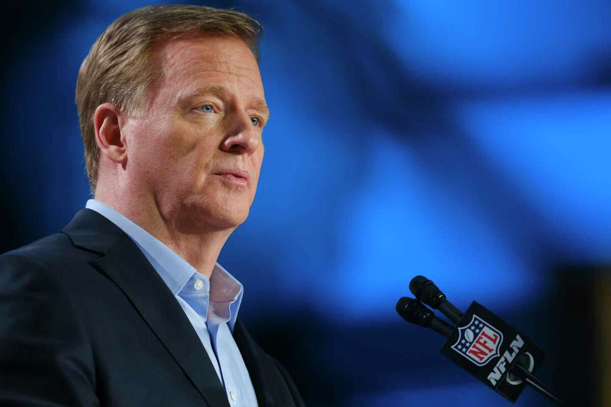 FILE -- NFL Commissioner Roger Goodell speaks during a media event before Super Bowl LIV in Miami, Fla., on Wednesday, Jan. 29, 2020. The NFL playoffs could expand to include two extra teams as soon as this coming season under a proposed labor agreement now being reviewed by the owners and players. (A.J. Mast/The New York Times)