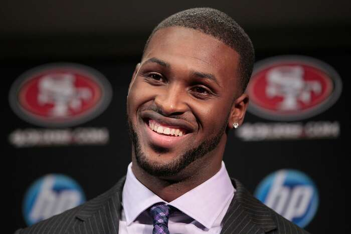 San Francisco 49ers first round draft pick A.J. Jenkins, a wide receiver from Illinois, smiles during an NFL football news conference at the team's headquarters in Santa Clara, Calif., Friday, April 27, 2012. (AP Photo/Paul Sakuma)