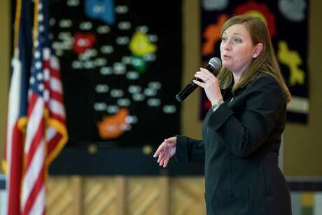Rep. Lizzie Fletcher, D-Texas, speaks to her constituents of the 7th Congressional District during a town hall meeting at Frostwood Elementary School on Saturday, March 23, 2019, in Houston.