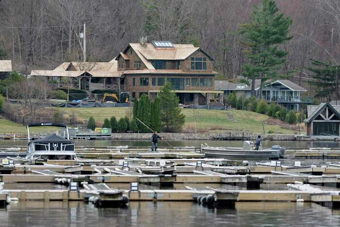 The docks are installed at Echo Bay Marina, on Candlewood Lake, Monday, March 30, 2020, in Brookfield, Conn.