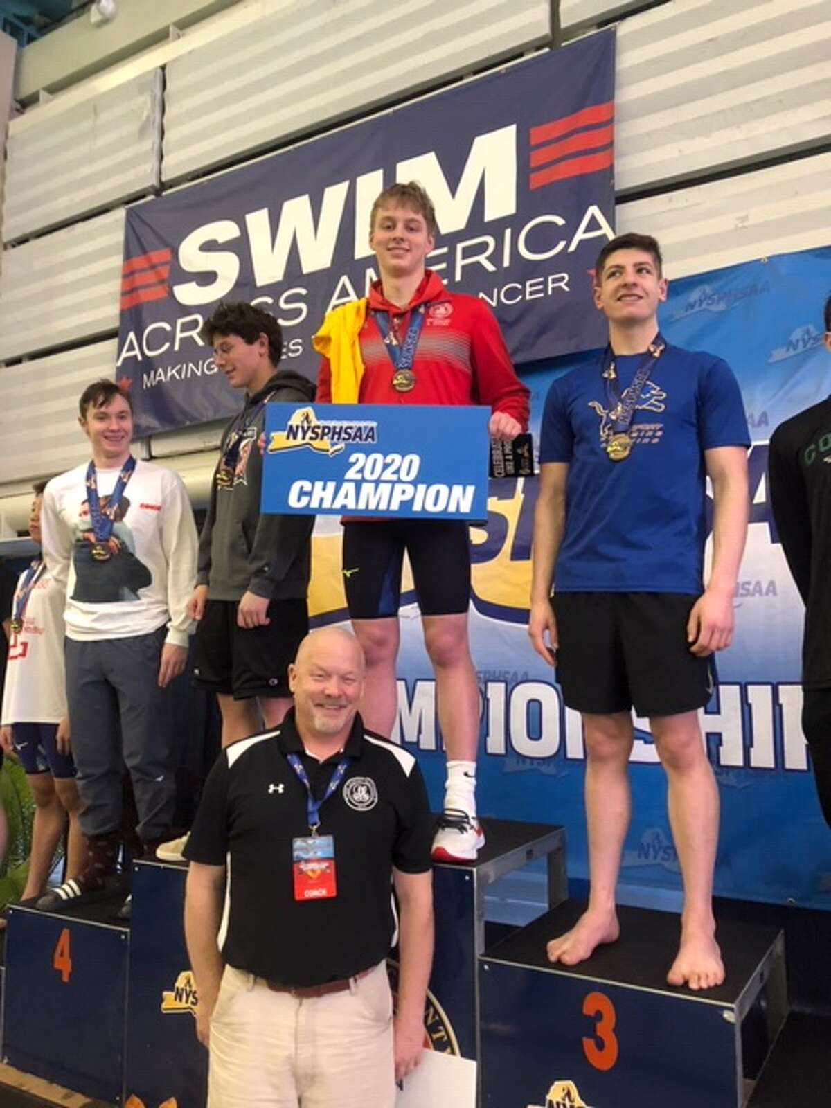 Albany Academy swimmer Bryce Henkel, center top, and Albany Academy coach Scott Young, bottom. (Courtesy photo)