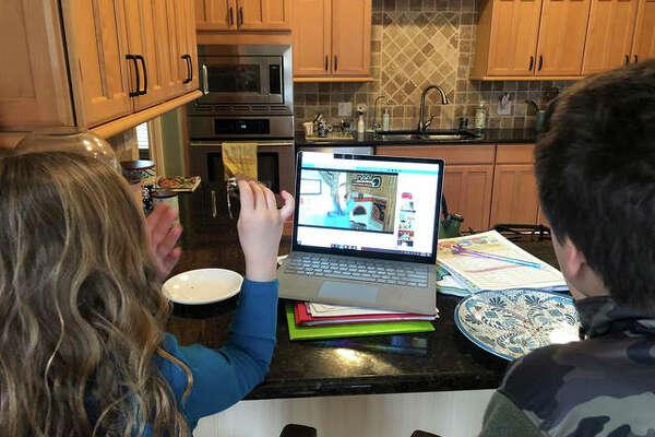 Children listen to a recent week's virtual storytime via live stream from the Edwardsville Children's Museum.