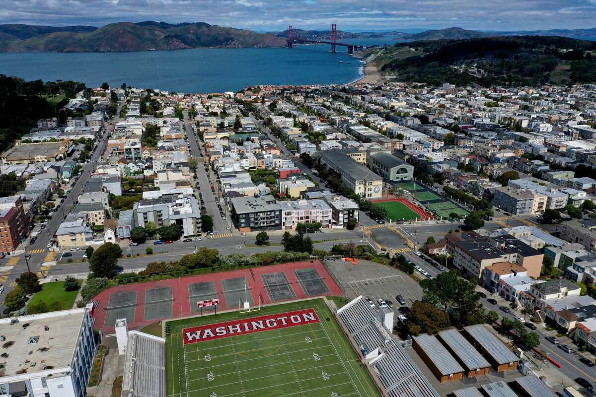 An aerial drone view of George Washington High School during the coronavirus pandemic on March 30, 2020, in San Francisco.