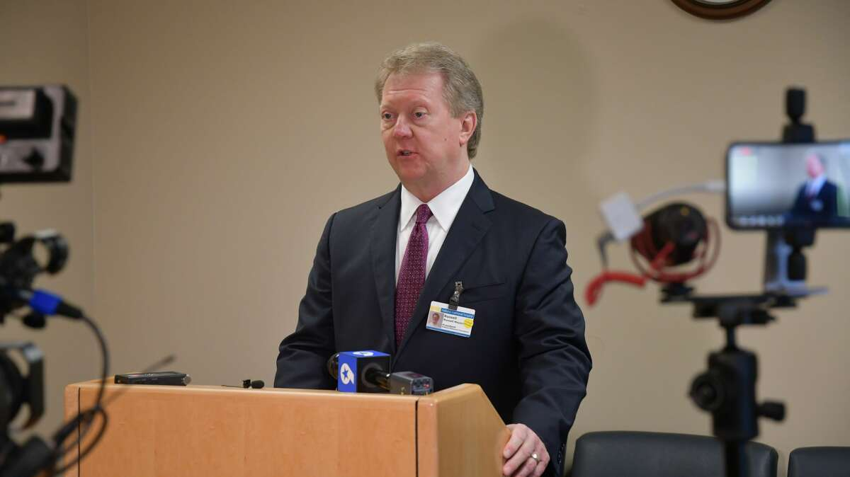 FILE PHOTO: CEO and president Russell Meyers, speaks at the Midland Memorial daily coronavirus briefing Monday, March 30, 2020.