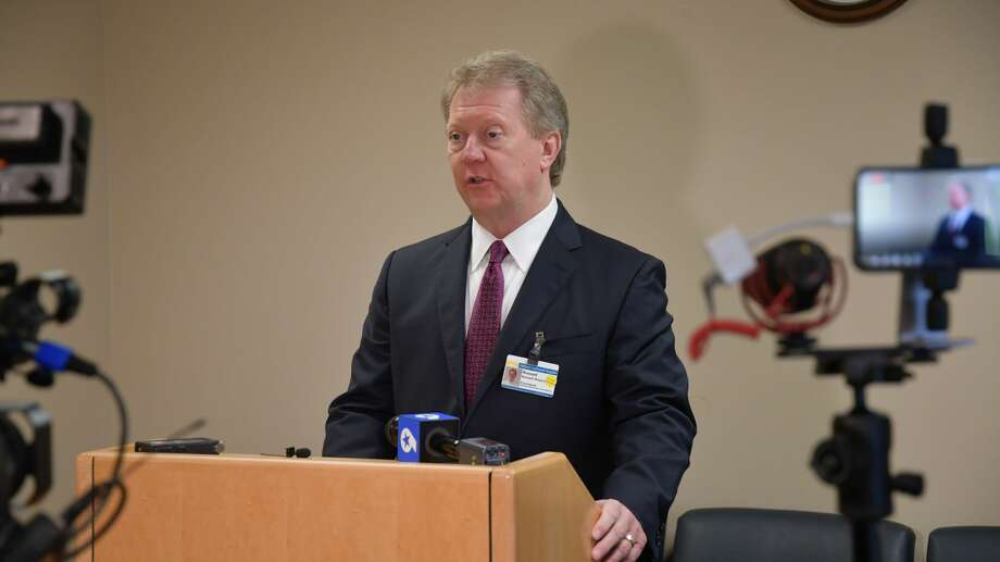 CEO and president Russell Meyers, speaks at the Midland Memorial daily coronavirus briefing Monday, March 30, 2020 Photo: Mercedes Cordero/Midland Reporter-Telegram