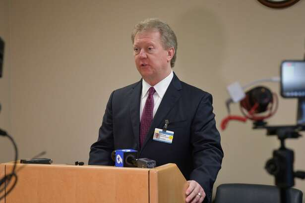CEO and president Russell Meyers, speaks at the Midland Memorial daily coronavirus briefing Monday, March 30, 2020