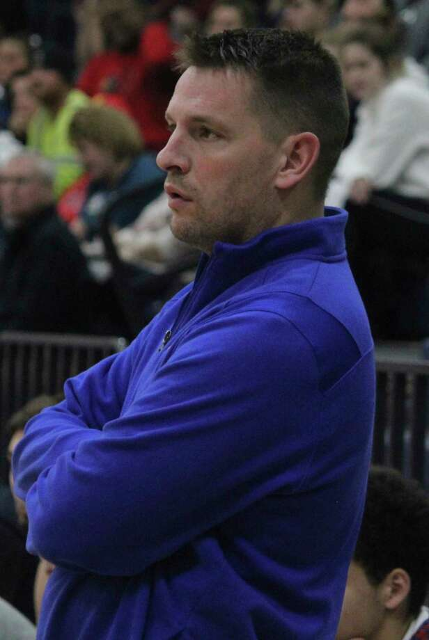 Chippewa Hills boys basketball coach Zach Ingles watches the action earlier this season. (Pioneer file photo)