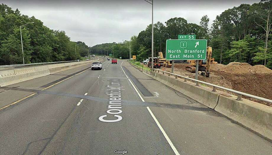 A project to rehabilitate the I-95 bridge over Route 1 in Branford will close the Exit 55 on and off-ramps for around three months. The state Department of Transportation said the closure and detour of the ramps will start in early April and continue to around Aug. 1, 2020. Photo: Google Street View Image