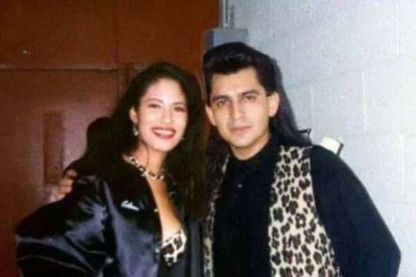 Selena is pictured with former backup signer Pete Astudillo during their Selena y Los Dinos days.