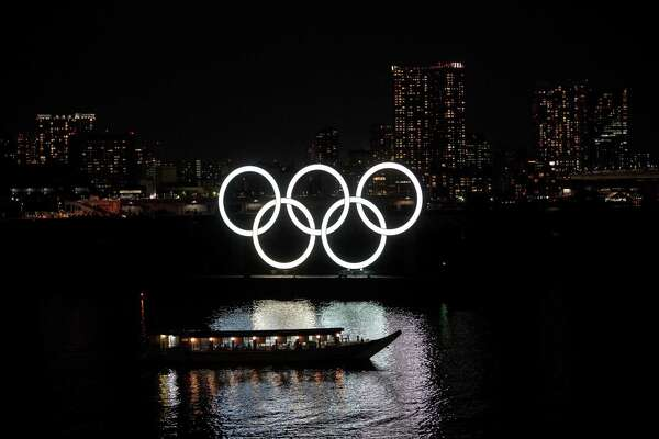 The Olympic rings are seen in Tokyo's Odaiba district on March 23, 2020.