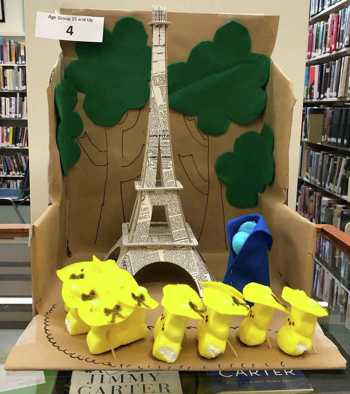 """Kent Memorial Library invites you get creative with Peeps, use them in a diorama and enter a photo in their """"Peep-O-Rama Contest Gallery."""" One of last year's winners is seen here."""