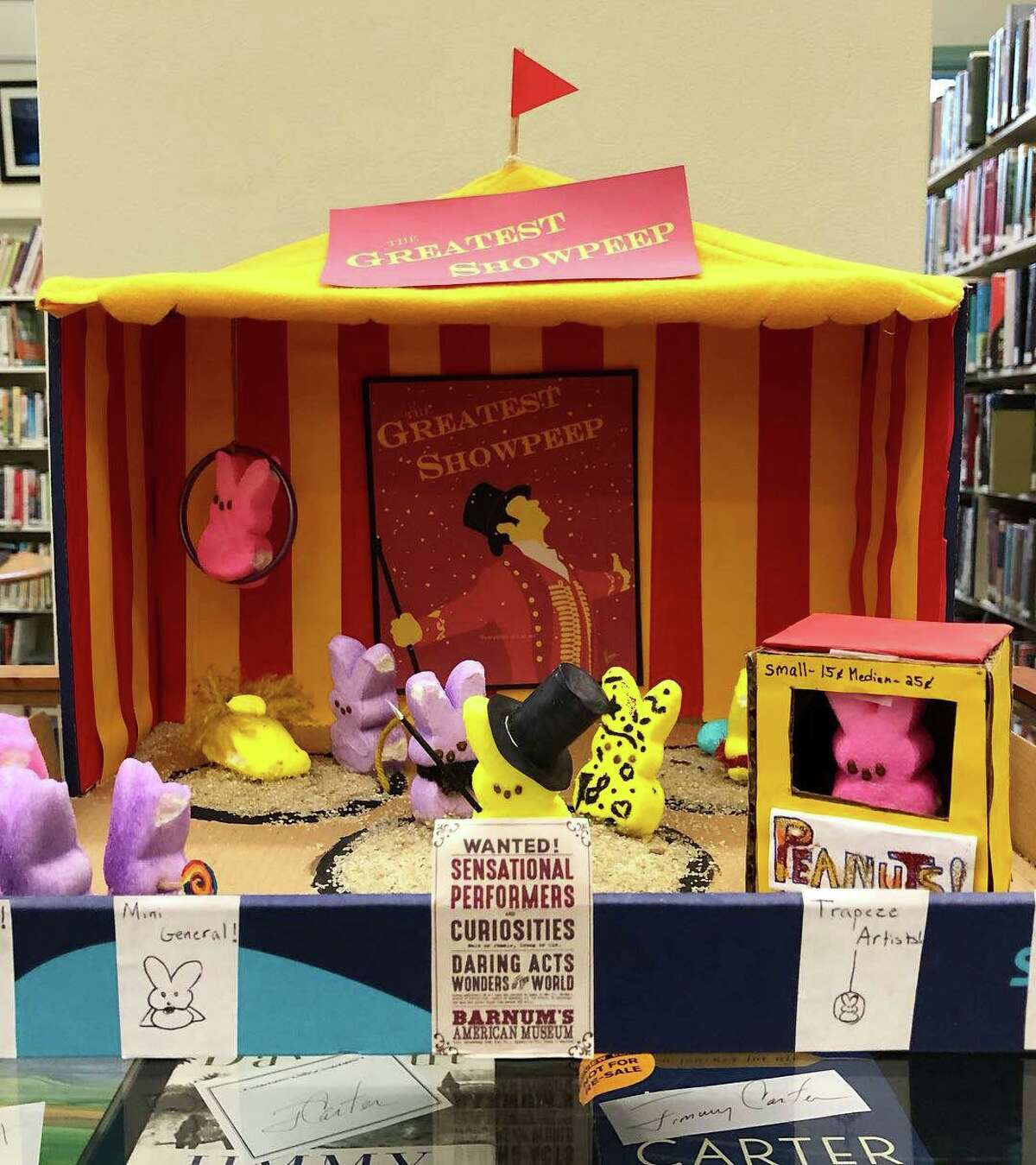 """Kent Memorial Library invites you get creative with Peeps, use them in a diorama and enter a photo in their """"Peep-O-Rama Contest Gallery."""" One of the top entries from the library's 2019 contest is seen here."""