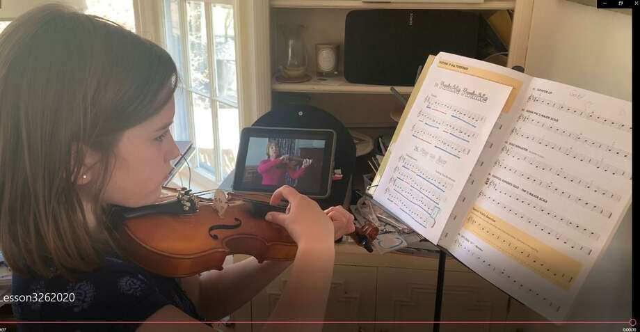 Darien music students continue to practice online. Photo: Contributed