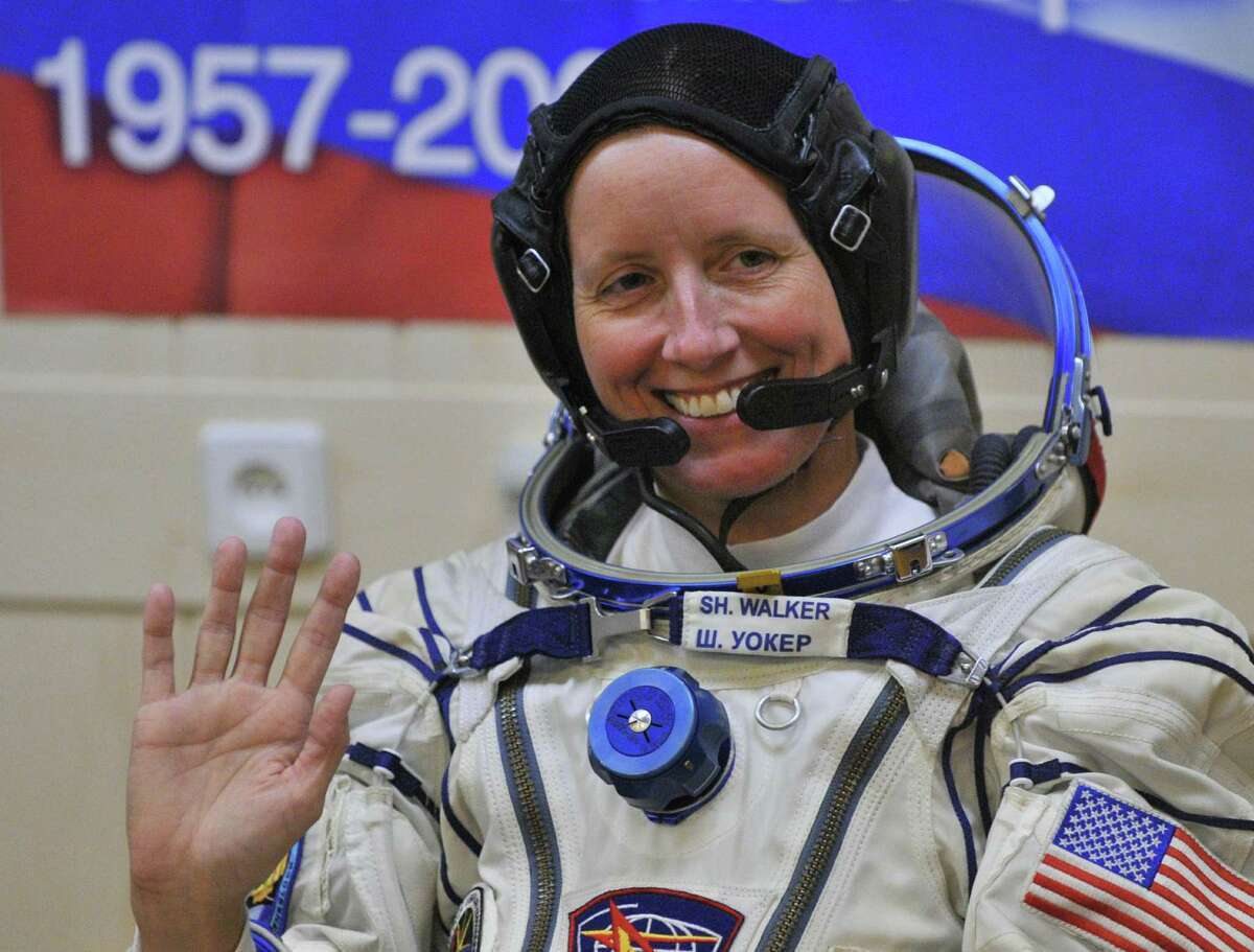 Astronaut Shannon Walker waves at the Kazakhstan's Russian-leased Baikonur cosmodrome on June 15, 2010 in Baikonur.