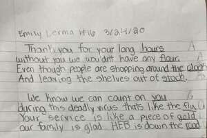 """A San Antonio 10-year-old girl brought a """"small glimmer of light"""" during the coronavirus pandemic after writing a poem that thanked H-E-B workers for their hard work."""