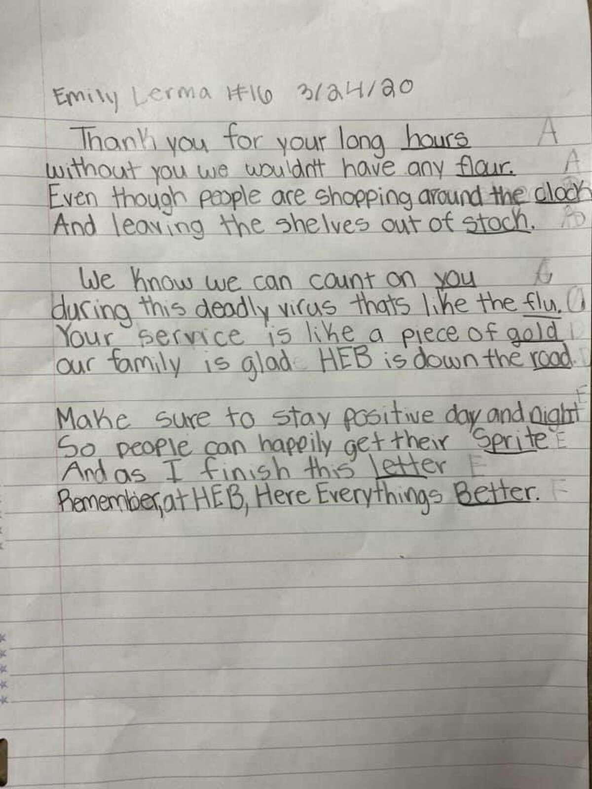 """With a sentence that reads """"your service is like a piece of gold"""" and with an ending that speaks volumes, a San Antonio 10-year-old girl thanked H-E-B with a heartfelt poem."""