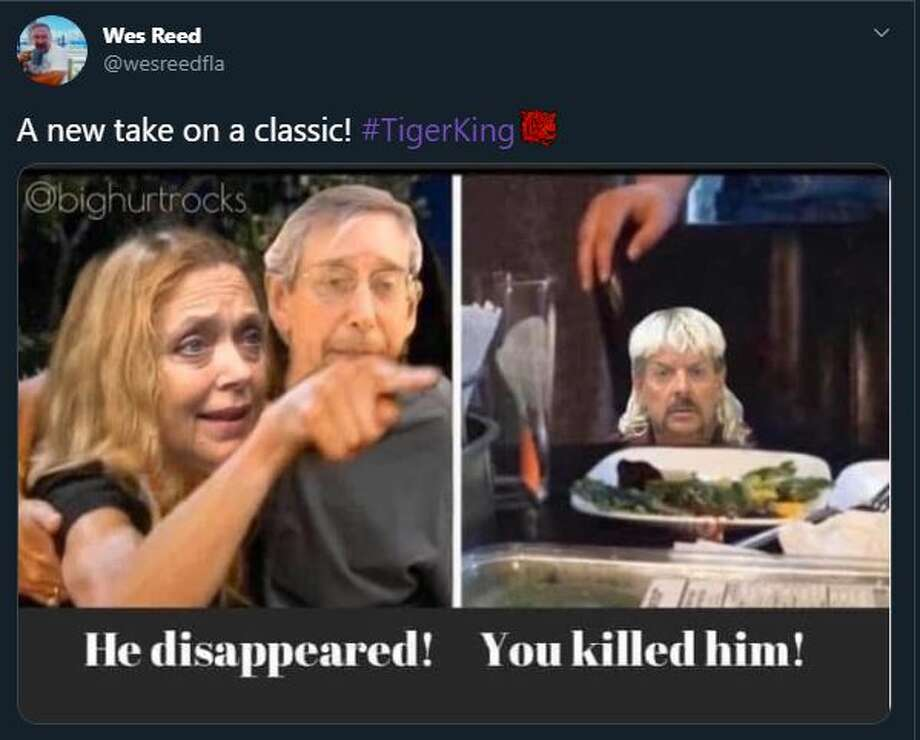 "Fans of the Netflix true crime doc ""Tiger King,"" starring Joe Exotic, took to social media to share their thoughts on the wild series in the form of hilarious memes. Photo: Twitter Screenshot"