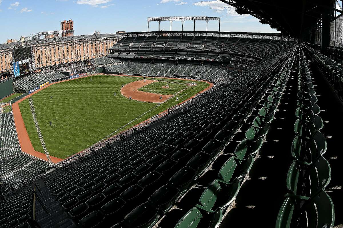 The Baltimore Orioles play the Chicago White Sox at an empty Oriole Park at Camden Yards on April 29, 2015 in Baltimore, Maryland. Due to unrest in relation to the arrest and death of Freddie Gray, the two teams played in a stadium closed to the public. Gray, 25, was arrested for possessing a switch blade knife April 12 outside the Gilmor Houses housing project on Baltimore's west side. According to his attorney, Gray died a week later in the hospital from a severe spinal cord injury he received while in police custody.
