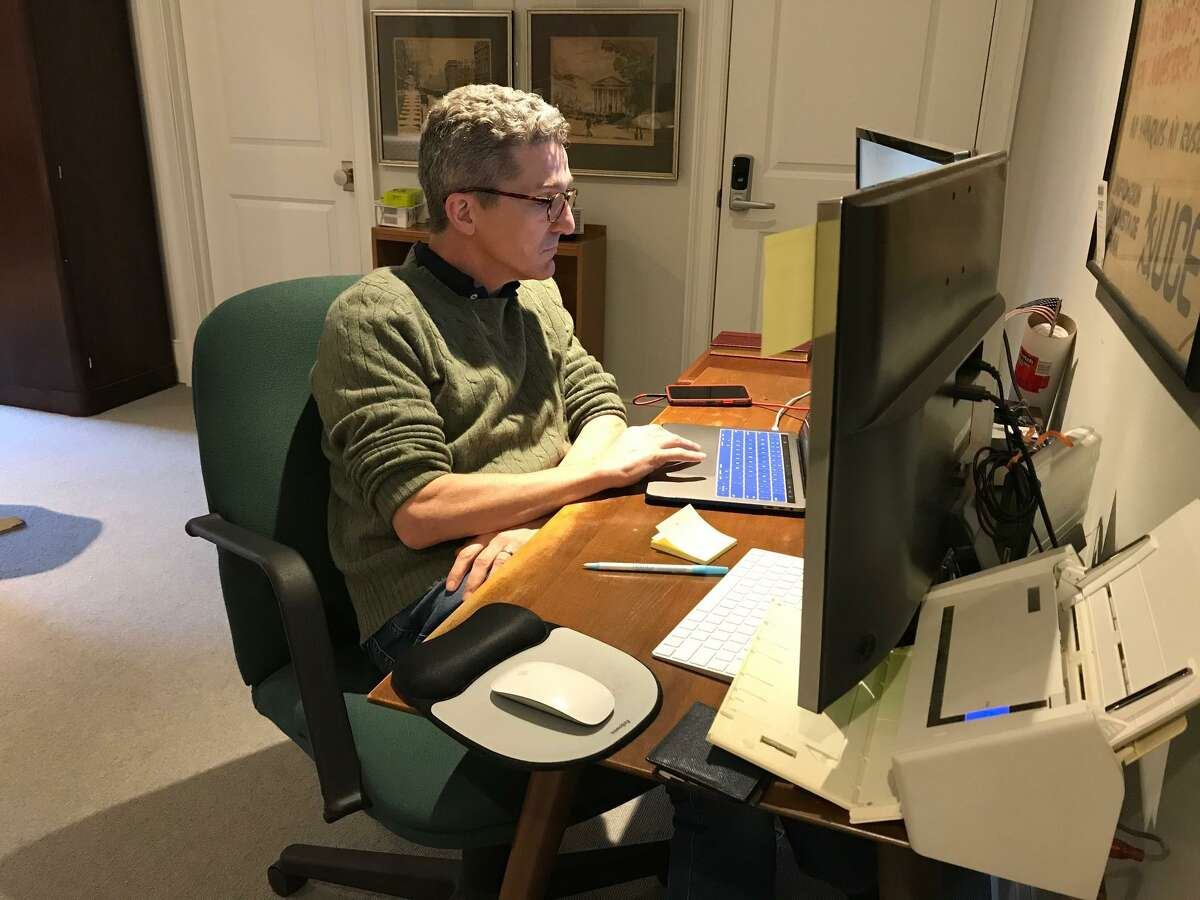 Chairman of the New Canaan Town Council John Engel has been leading many meetings from his computer via video-teleconferencing. Supporters of later school start times said success of elearning during the coronavirus pandemic is one more reason that educators should get their $92 million budget.