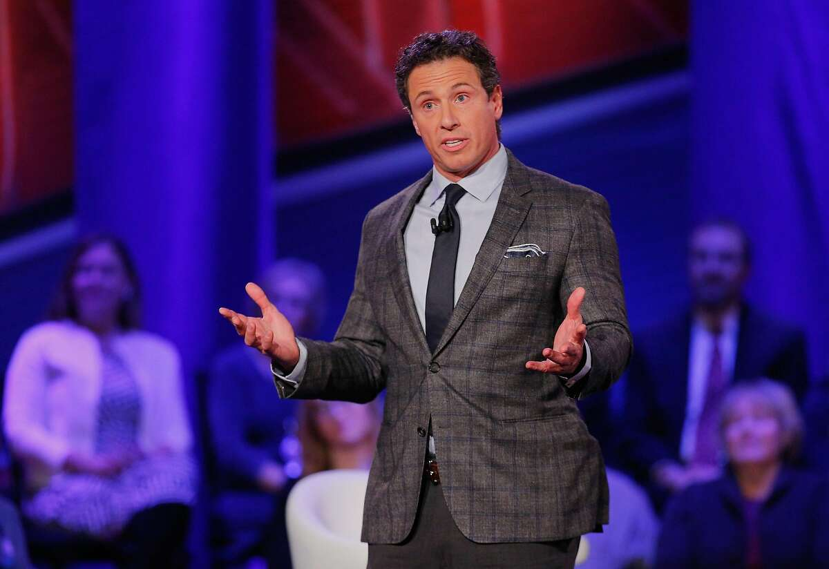 FILE - CNN anchor Chris Cuomo speaks as a moderator at a town hall forum hosted by CNN at Drake University in Des Moines, Iowa in 2016.