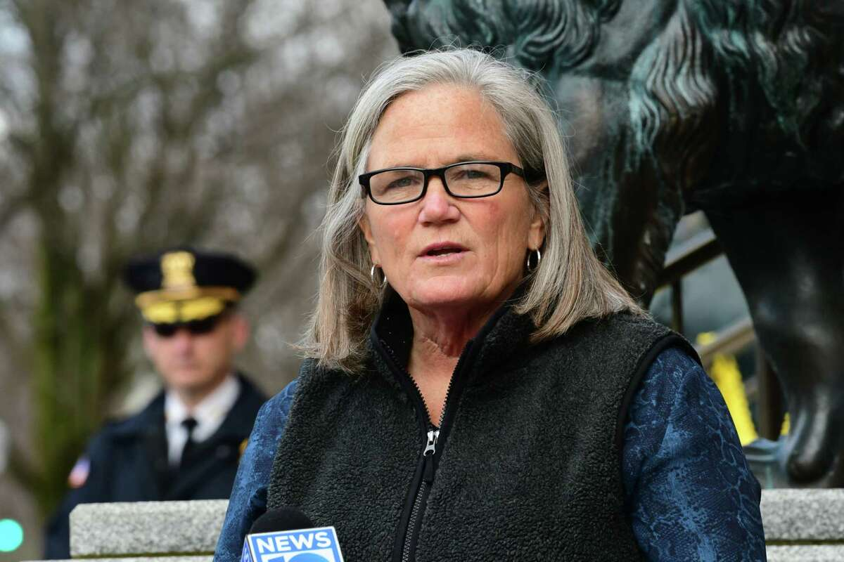 Mayor Meg Kelly, along with other officials, discuss penalties imposed on people who don't adhere to social distancing rules during the coronavirus pandemic outside Saratoga Springs City Hall on Tuesday, March 31, 2020 in Saratoga Springs, N.Y. (Lori Van Buren/Times Union)