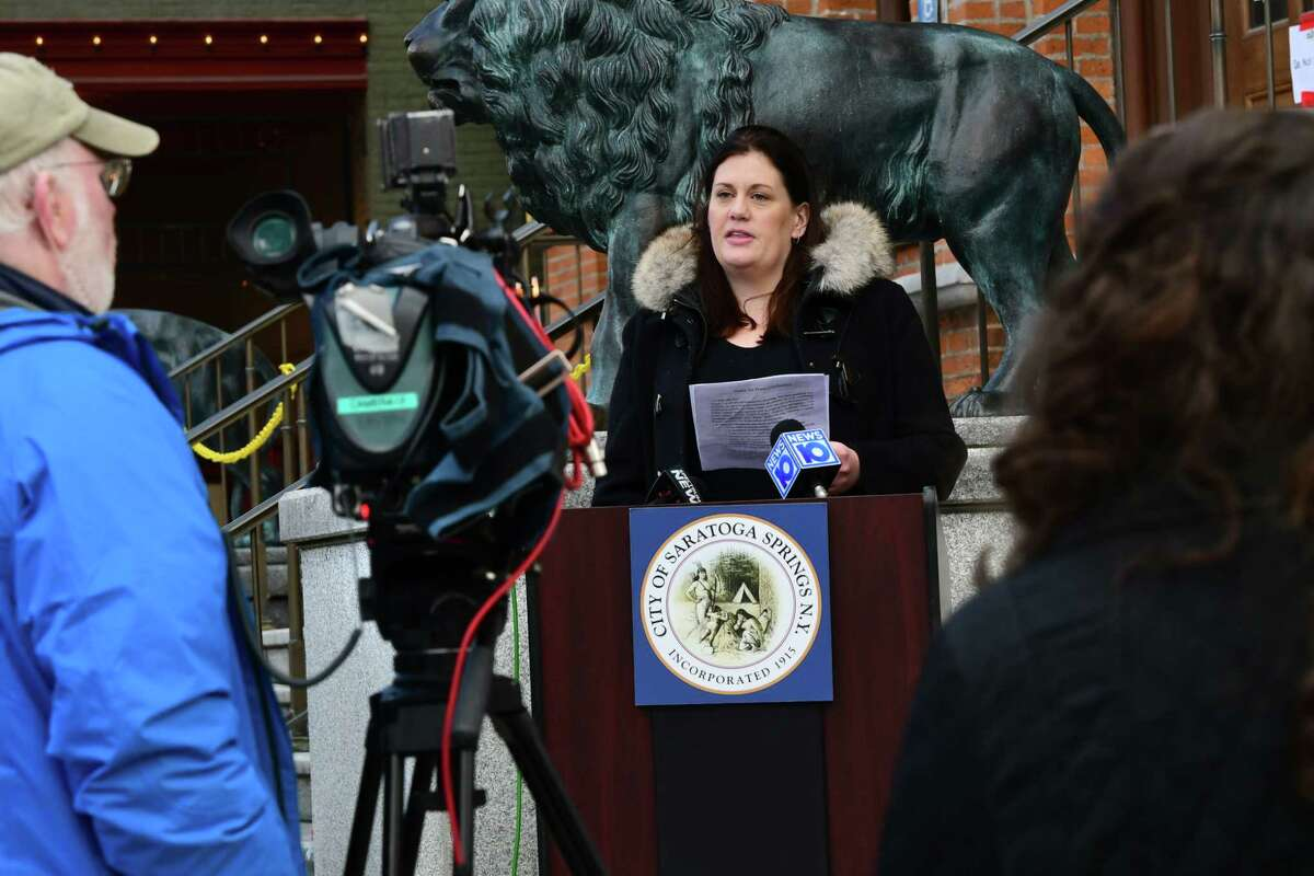 Commissioner of Public Safety Robin Dalton, along with other officials, discuss penalties imposed on people who don't adhere to social distancing rules during the coronavirus pandemic outside Saratoga Springs City Hall on Tuesday, March 31, 2020 in Saratoga Springs, N.Y. (Lori Van Buren/Times Union)
