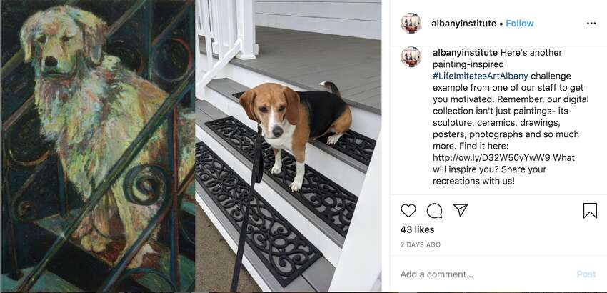 Using the hashtag#LifeImitatesArtAlbany, the Albany Institute of History and Art is inviting online visitors and art lovers to recreate paintings and scenes from the museum's collection in their own homes.