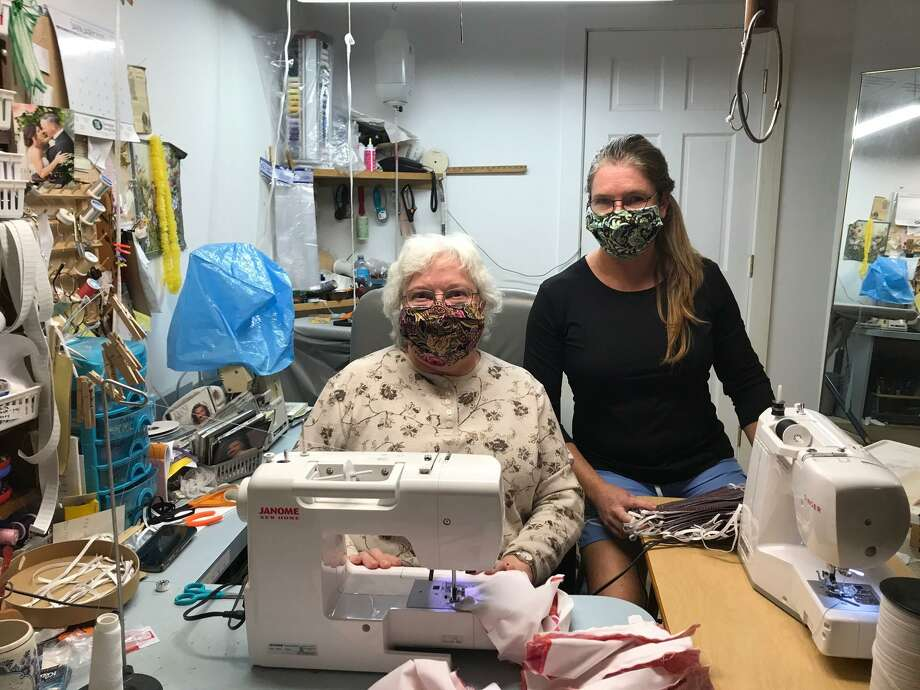 Goshen residents Tina Torizzo and her mother, Diane Withsandley, have made more than 500 face masks and donated them to nursing homes, care centers, group homes and other organizations. The masks are intended to slow the spread of the cornavirus and keep people from touching their faces. Photo: Tina Torizzo / Contributed Photo