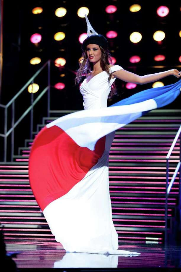 In a photo provided by the Miss Universe Organization, Malika Menard, Miss France 2010, wears her national costume for a pre taped segment of the 2010 Miss Universe Competition at Mandalay Bay in Las Vegas, Wednesday, Aug. 18, 2010. (AP Photo/Darren Decker/Miss Universe Organization LP, LLLP) Photo: Darren Decker / Miss Universe Organization