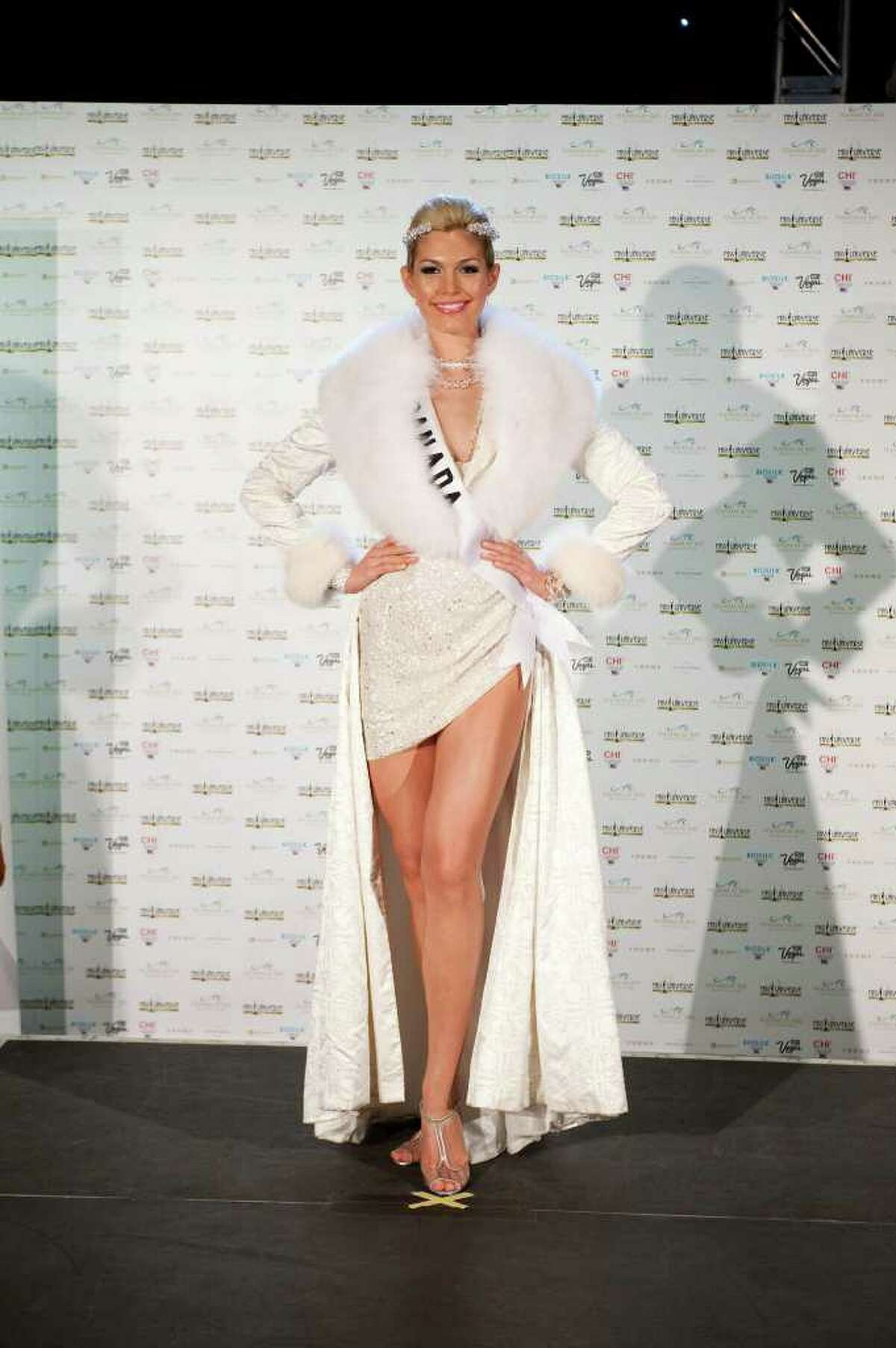 Elena Semikina, Miss Canada 2010 , poses in her national costume at the Mandalay Bay Resort and Casino in Las Vegas Monday, August 16, 2010. (AP Photo/Matt Petit/Miss Universe Organization LP, LLLP)
