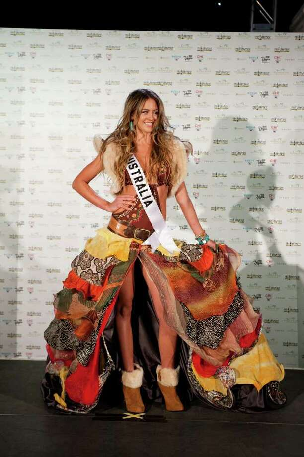 Jesinta Campbell, Miss Australia 2010, poses for in her national costume at the Mandalay Bay Resort and Casino in Las Vegas Monday, August 16, 2010. (AP Photo/Matt Petit/Miss Universe Organization LP, LLLP) Photo: Matt Petit / Miss Universe Organization