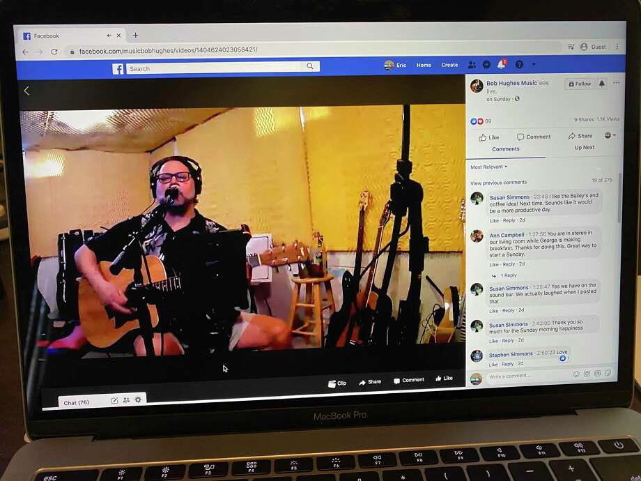 Local musician Bob Hughes performs via Facebook Live March 20. He plans to host another event on Facebook April. 3. (Eric Young/Huron Daily Tribune)
