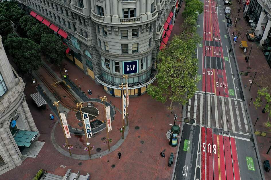 SAN FRANCISCO, CALIFORNIA - MARCH 30: An aerial drone view of an empty Powell Street Cable Car turnaround on March 30, 2020 in San Francisco, California. Officials in seven San Francisco Bay Area counties have announced plans to extend the shelter in place order until May 1 in an effort to slow the spread of coronavirus (COVID-19). (Photo by Justin Sullivan/Getty Images)